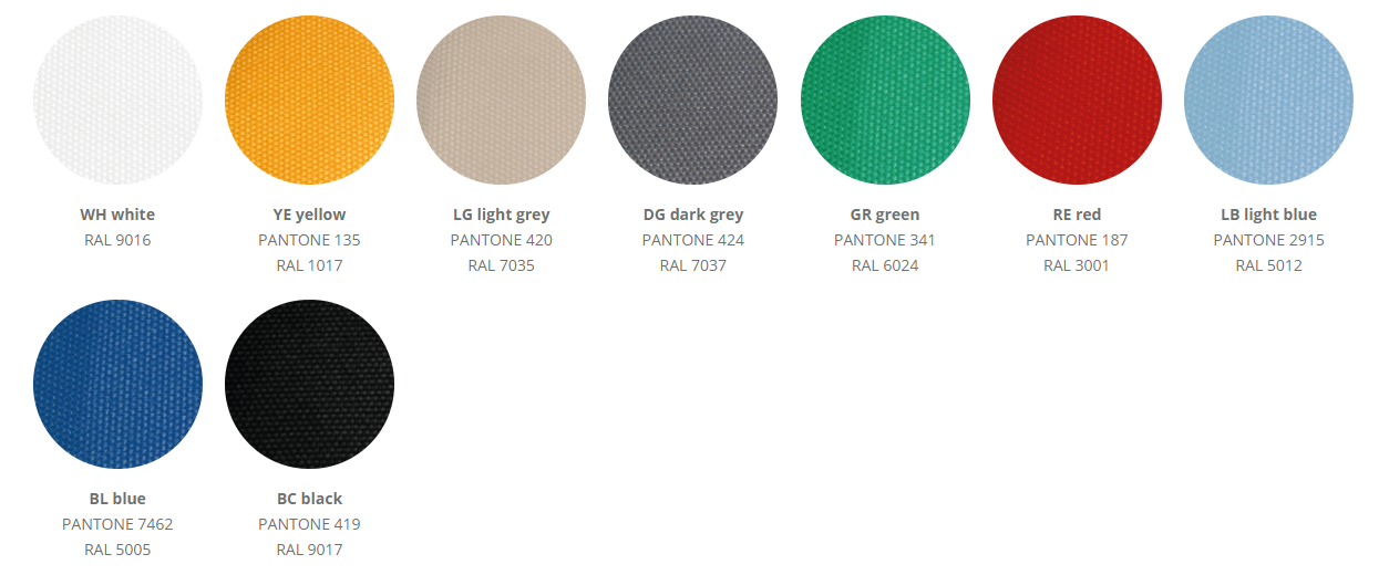 Possible RAL-colors for airsocks