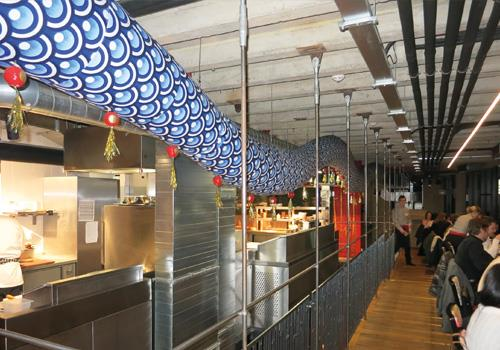 Prihoda Art | gepersonaliseerde airsocks in restaurant - Prihoda HVAC
